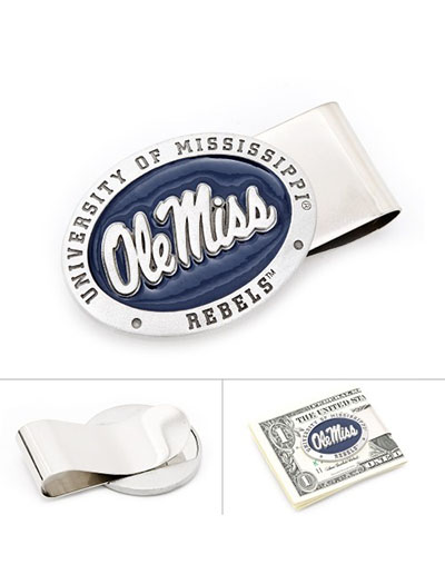 NCAA Ole Miss University Rebels Pewter Money Clip
