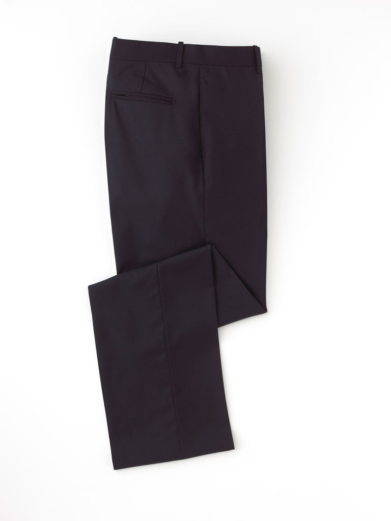 Pant-Navy Solid Flat