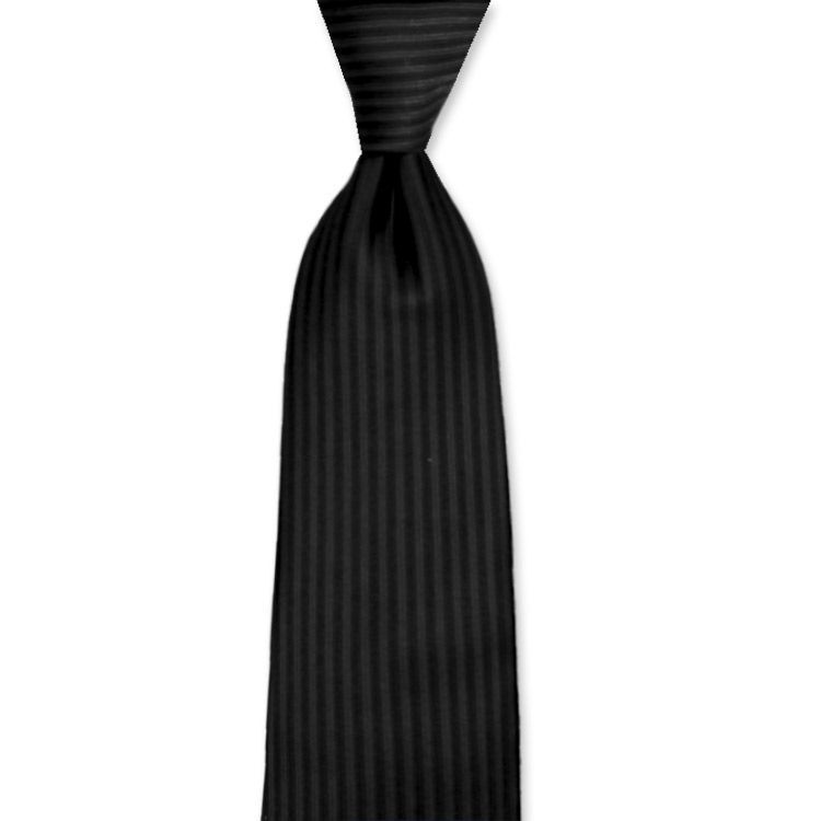 Black Woven Satin Vertical Stripe Tie