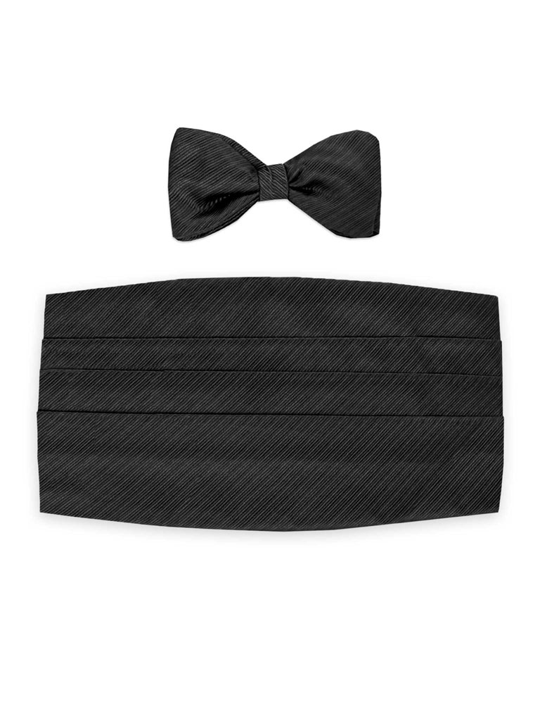 Pre-Tied Black Woven Satin Diagonal Stripe Tie & Cummerbund Set