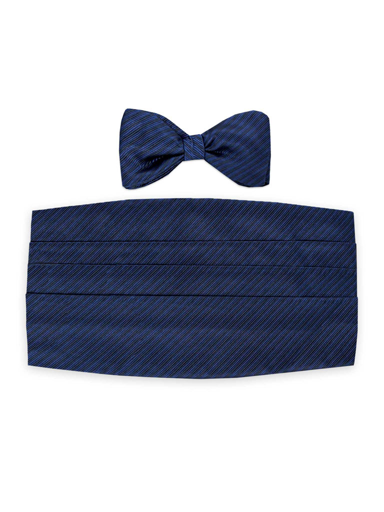 Self-Tied Black Woven Satin Diagonal Stripe Tie & Cummerbund Set