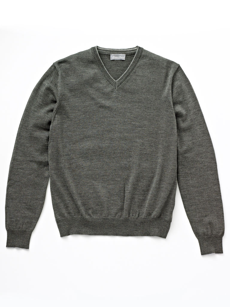 V-Neck Merino Wool Knit by Tom James
