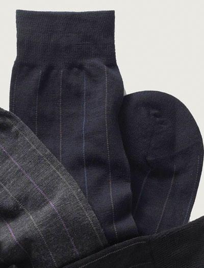 Mid-Calf Wool Stripe Socks