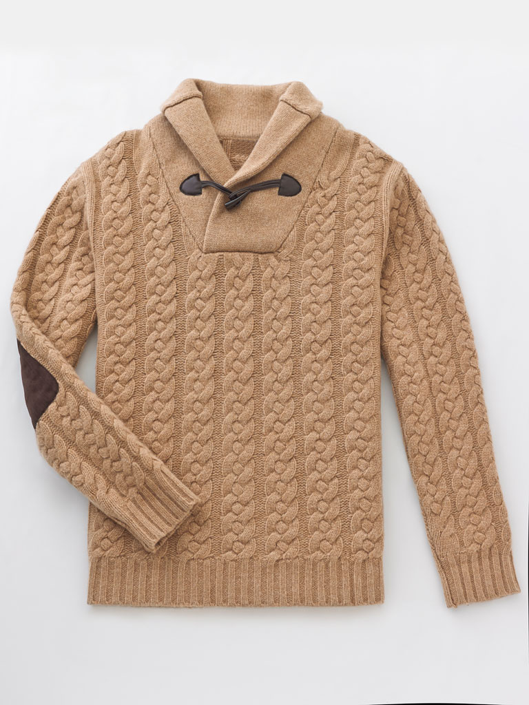 Shawl Collar Cable Knit Sweater by Tom James