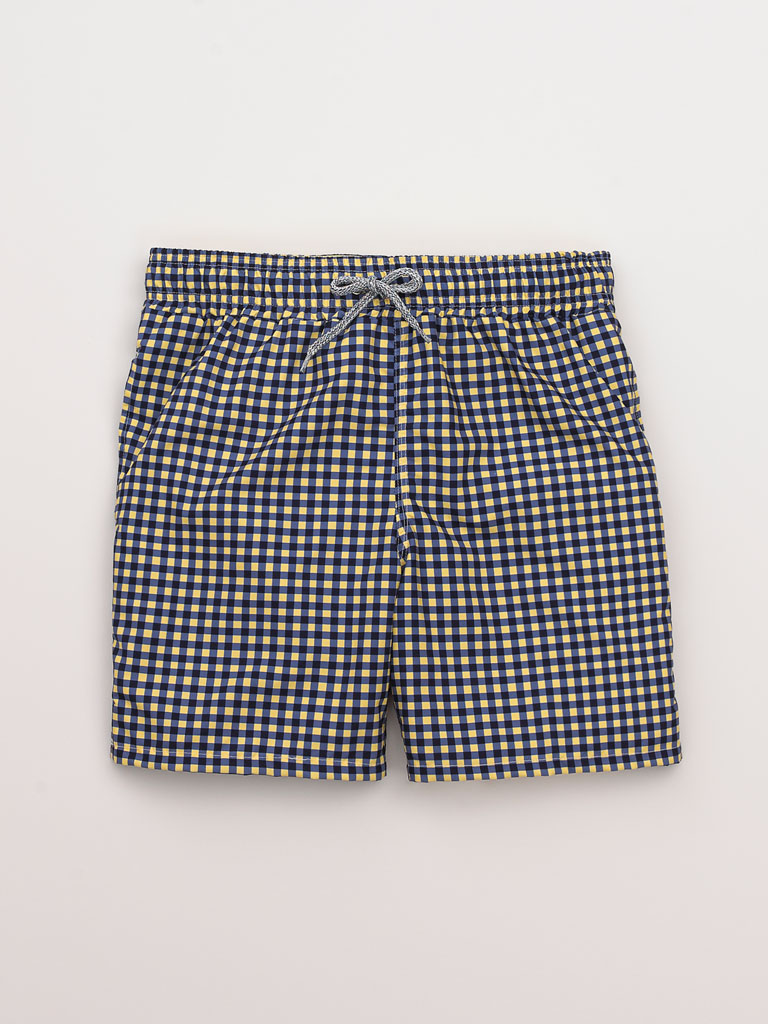 Gingham Swim Trunks