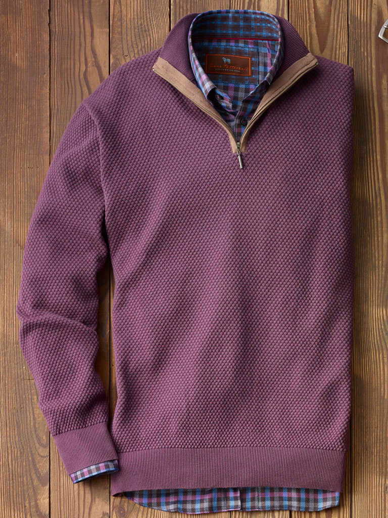 1/4 Zip Mock Sweater  by Tom James