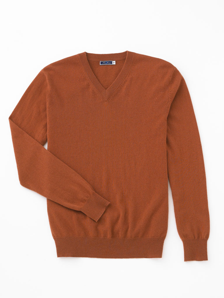 Cashmere V-Neck Sweater by Tom James
