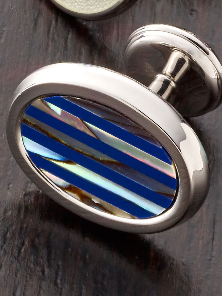 RHODIUM FINISH, REPP STRIPE STERLING SILVER ENAMEL