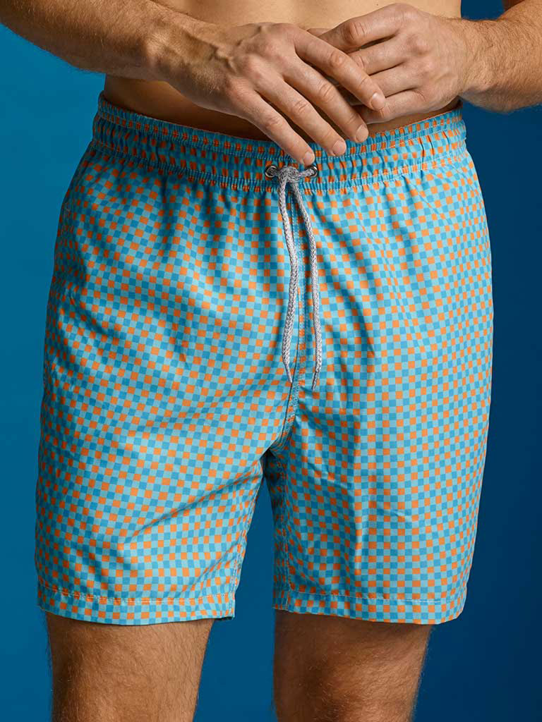 Orange/Blue Gingham Swim Shorts by Michaels