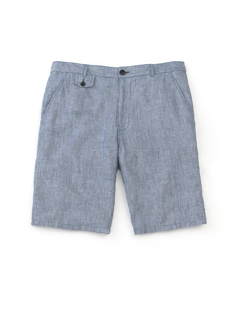 Linen Pencil Strip Shorts by Tom James