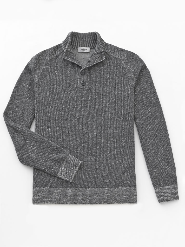 1/4 Button Mock Sweater  by Tom James
