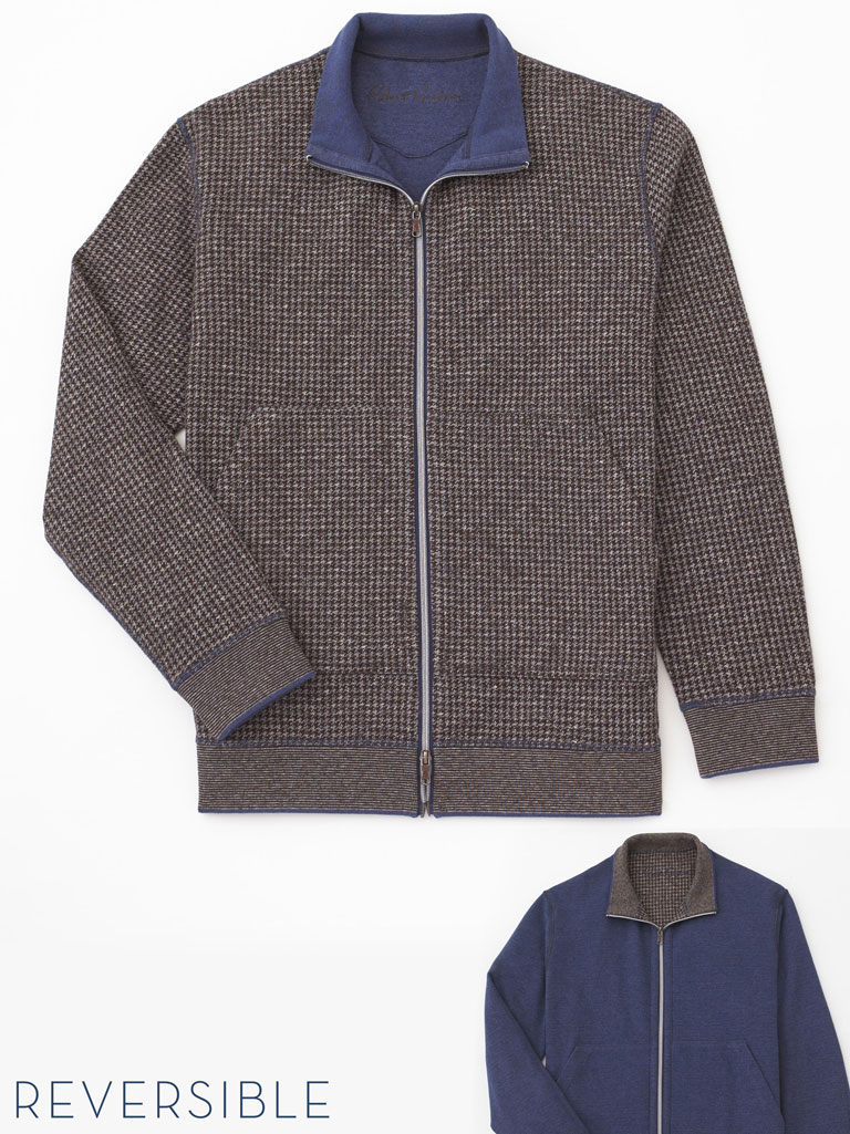 Houndstooth Zip-Up Sweater by Robert Graham