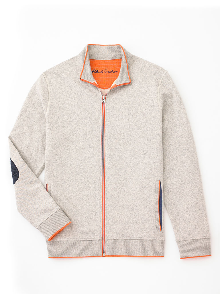 Classic Zip Sweatshirt with Knitted Elbow Patches by Robert Graham