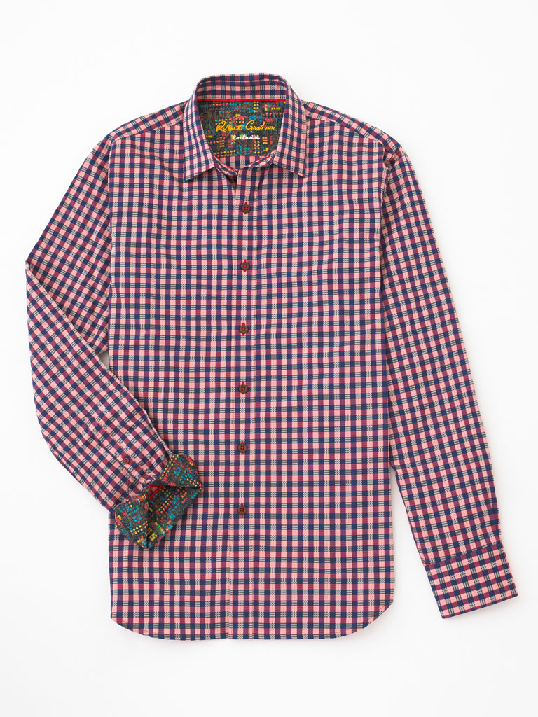 Check/Stripe Pattern Sport Shirt by Robert Graham
