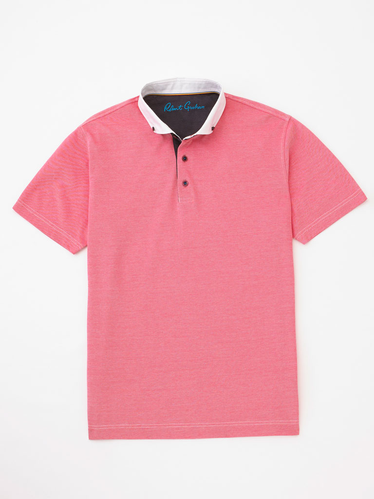 Contrasting Button-Down Collar Polo by Robert Graham