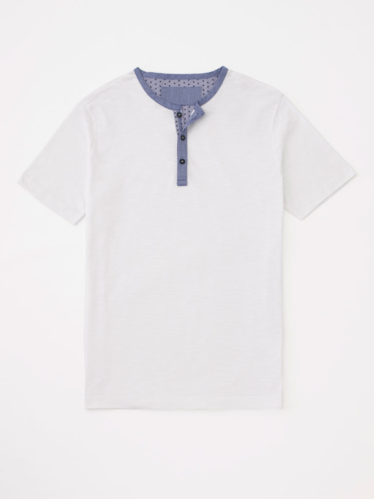 Three Button Short Sleeve Henley by Tom James