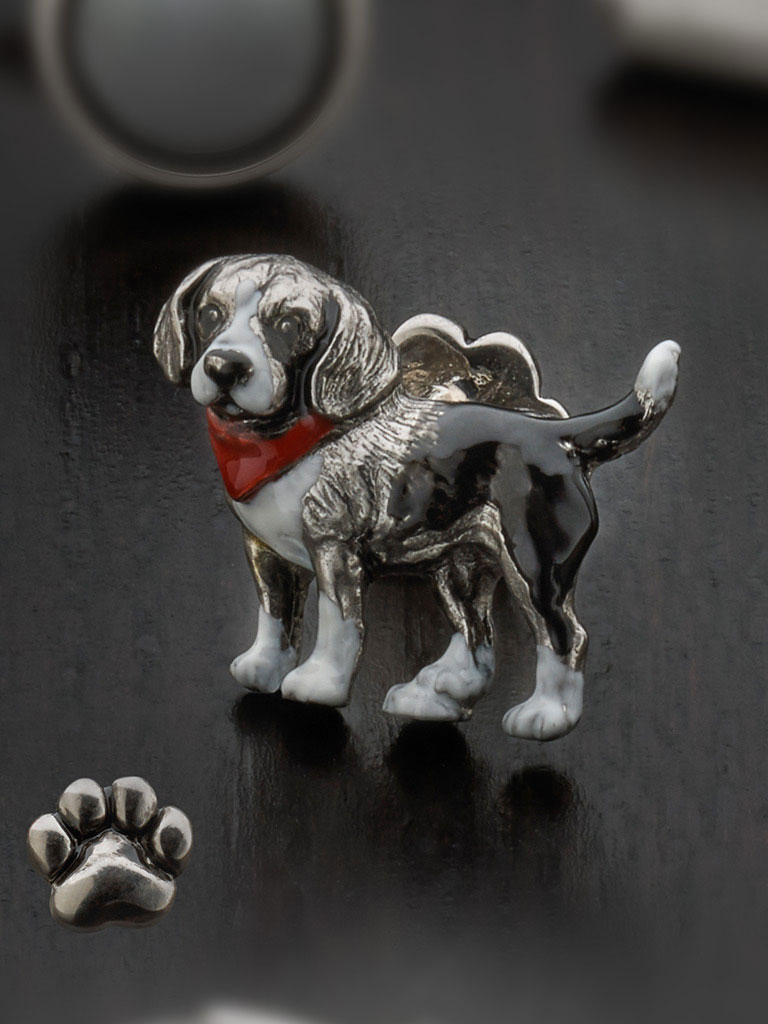 Sterling silver hand painted beagle with paw print button backing