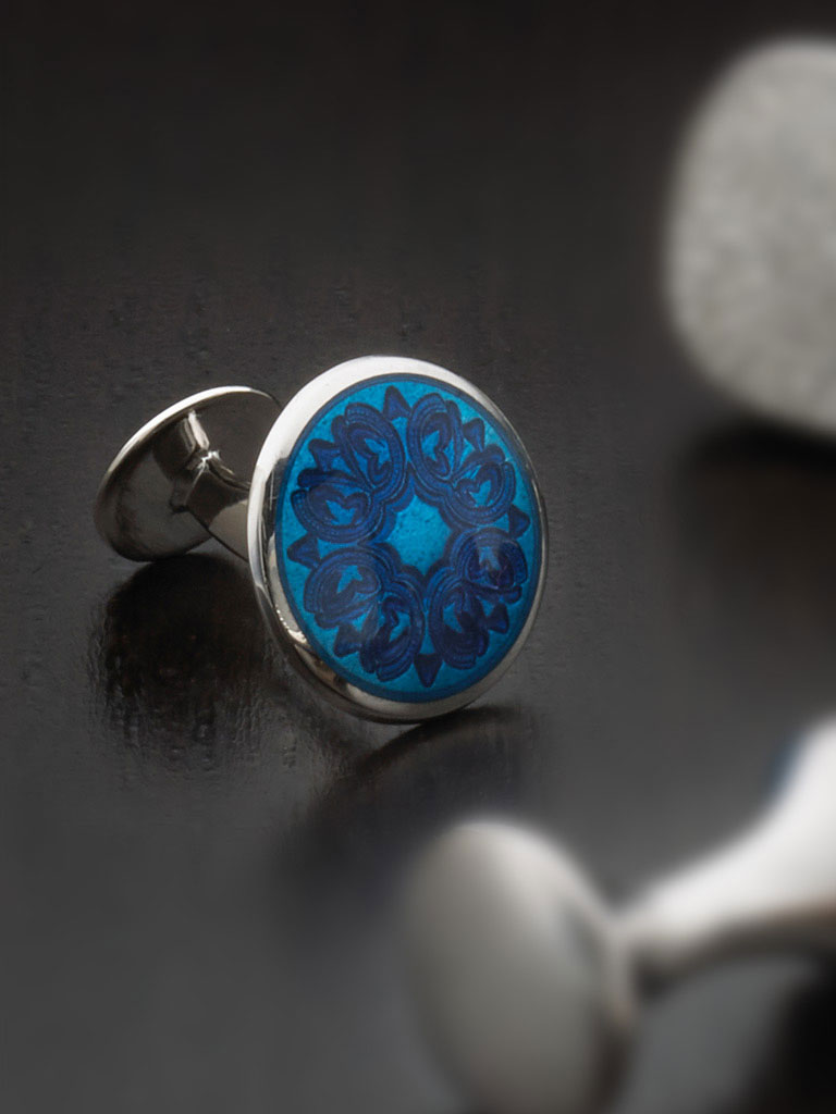 Sterling silver vitreous enamel with button backing