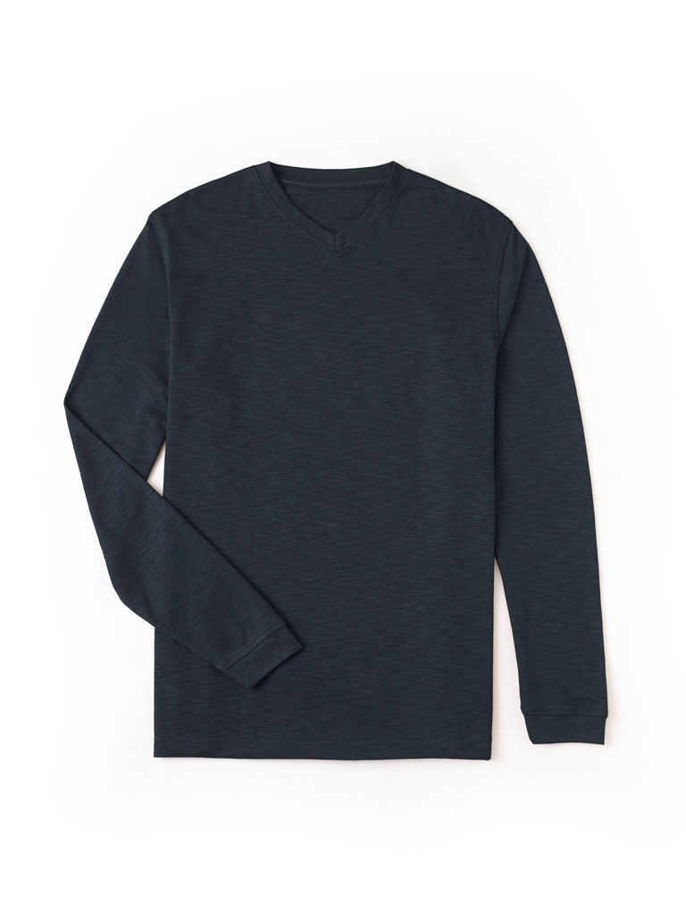 Long Sleeved V-Neck T-Shirt by Tom James