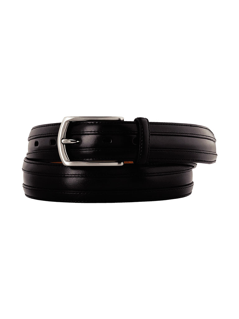 Black Double Calf Belt by Johnston & Murphy