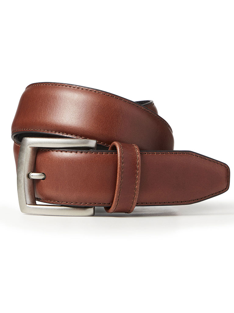 Brown Waxed Leather Belt by Johnston & Murphy