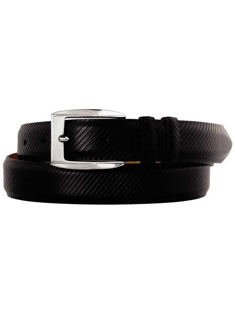Black Diagonal Scored Belt by Johnston & Murphy