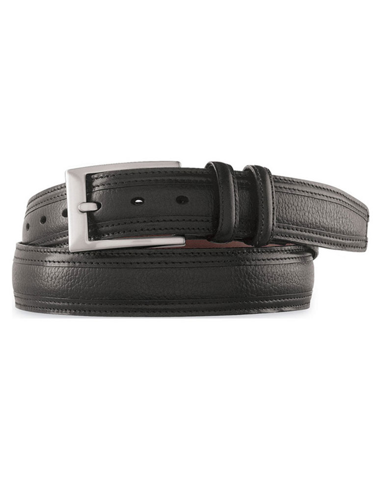 Black Deerskin Embossed Belt by Johnston & Murphy