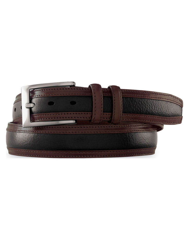 BLACK & BROWN DEERSKIN EMBOSSED BELT BY JOHNSTON & MURPHY