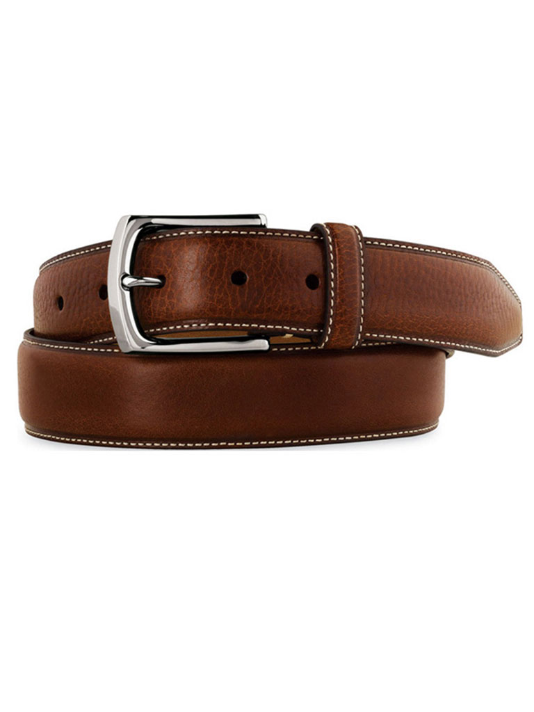 Brown Topstitched Belt by Johnston & Murphy