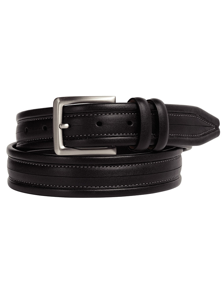 Black Center Scored Belt by Johnston & Murphy