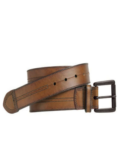 Brown Double Center-Stitched Belt by Johnston & Murphy