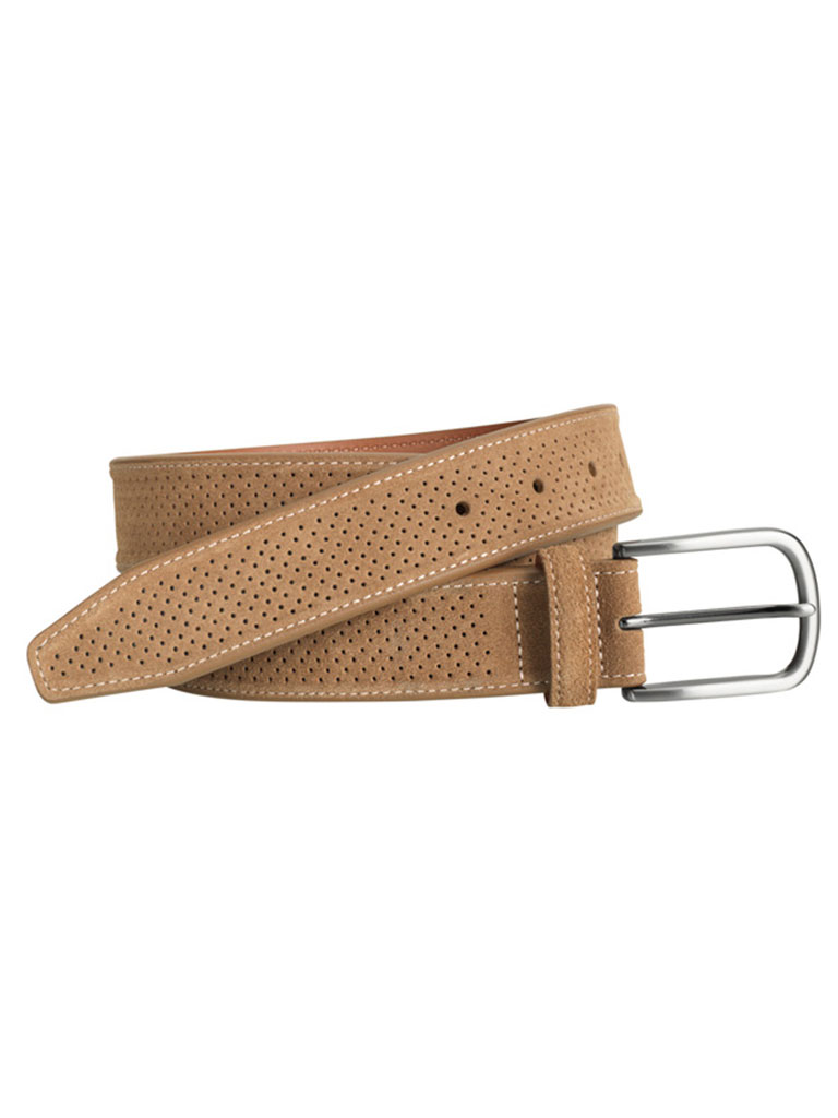 Tan Suede Perfed Belt by Johnston & Murphy