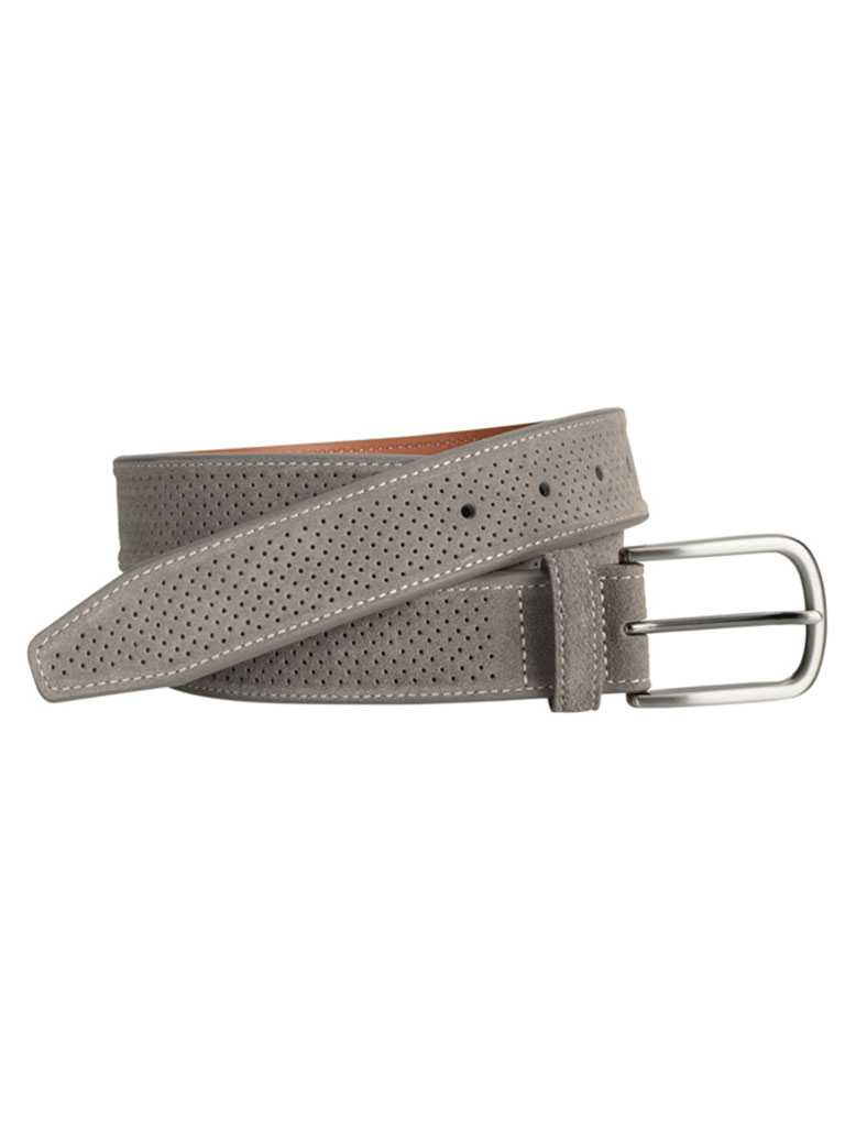 Gray Suede Perfed Belt by Johnston & Murphy