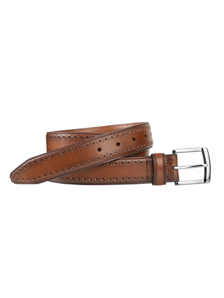 Tan Perfed-Edge Belt by Johnston & Murphy