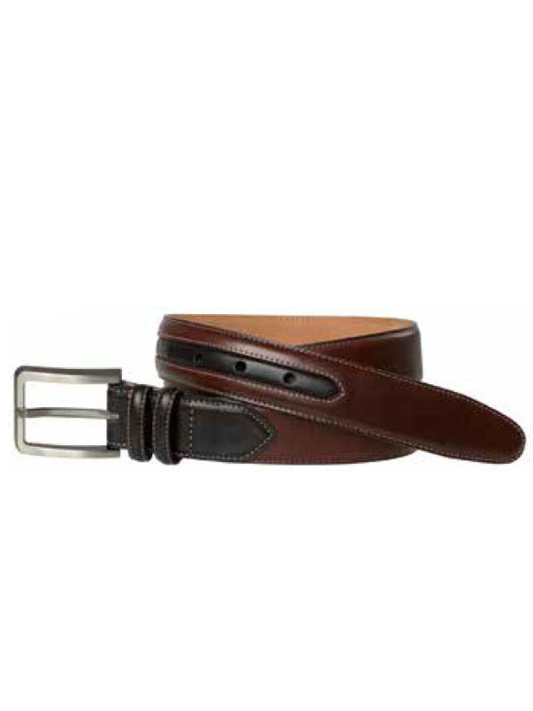 Dark Brown Two-Tone Belt by Johnston & Murphy