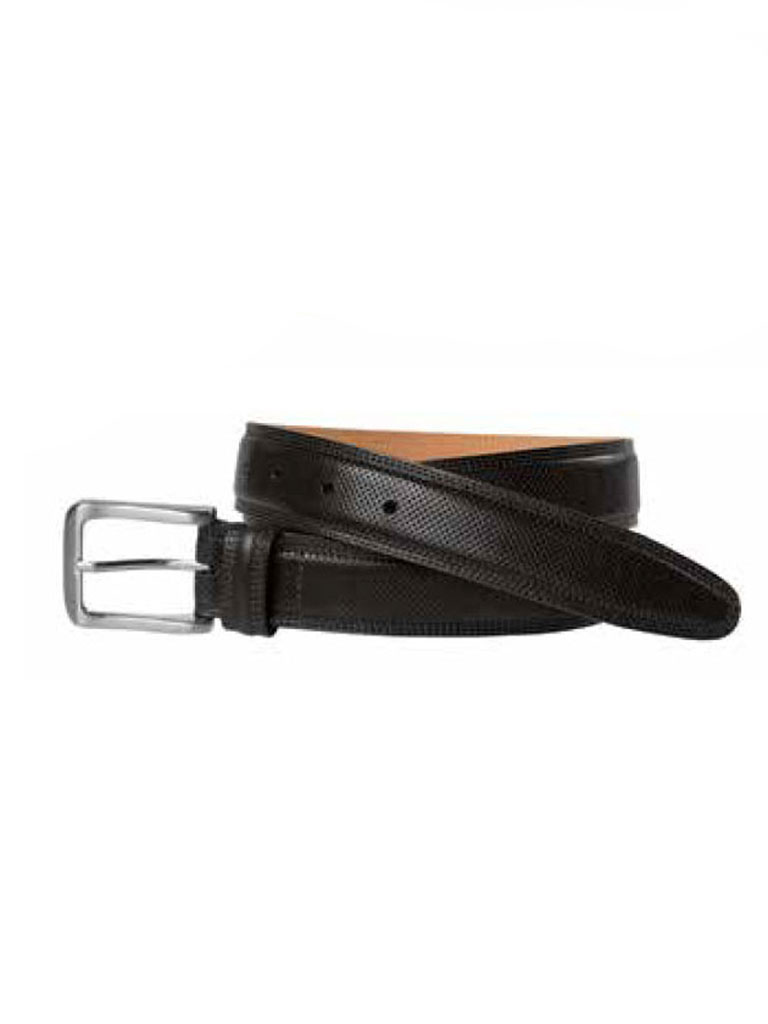 Black All-Over Perfed Belt by Johnston & Murphy