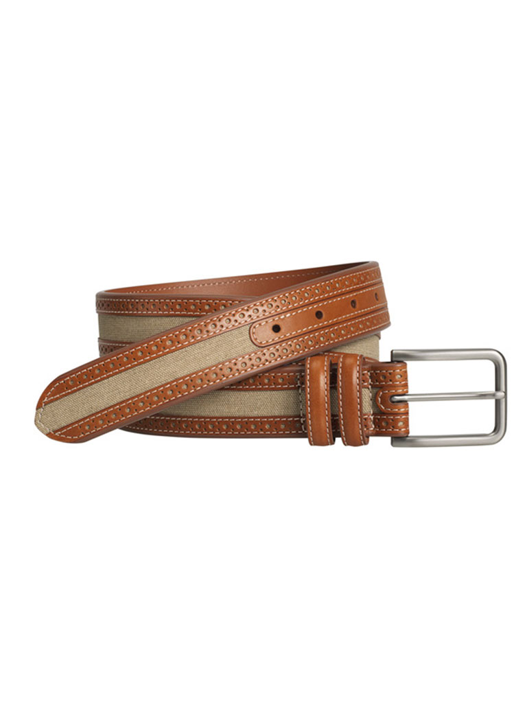 Tan Perfed Linen Belt by Johnston & Murphy