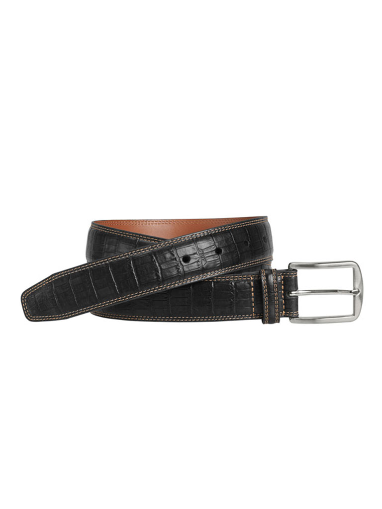 Black Croc Print Belt by Johnston & Murphy