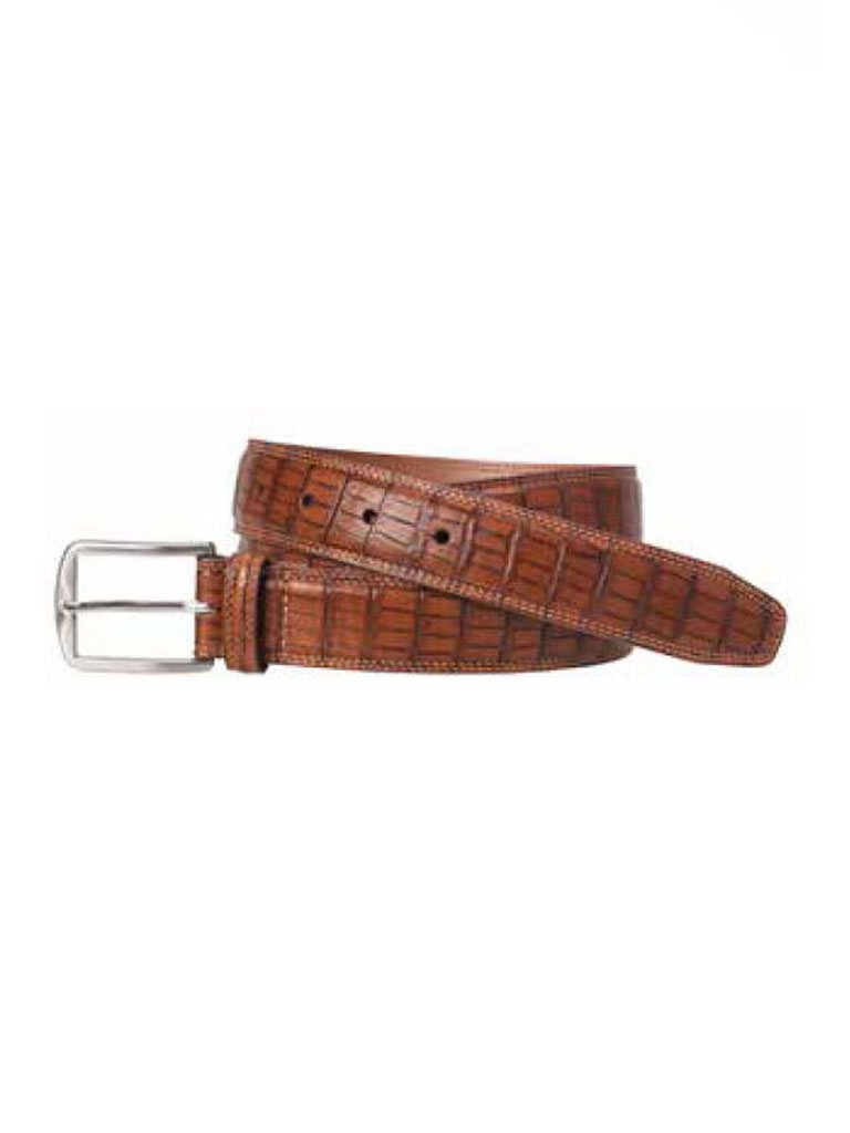 Brown Croc Print Belt by Johnston & Murphy