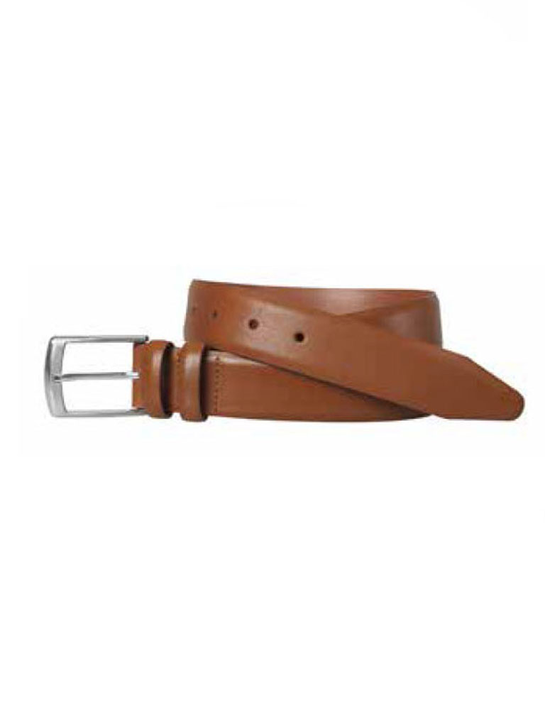 Tan Feathered Edge Belt by Johnston & Murphy