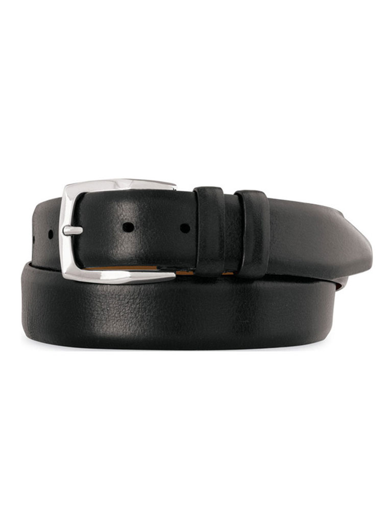 Black Feathered Edge Belt by Johnston & Murphy