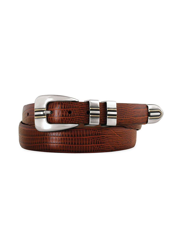 Cognac Lizard-Grain Belt by Johnston & Murphy