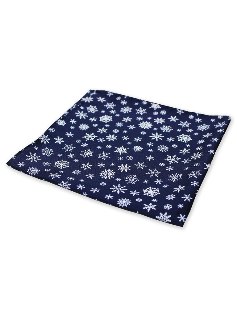 Silk Snowflake Motif Pocket Square