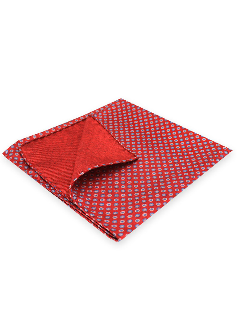 100% Silk Printed Twill Reversible Pocket Square