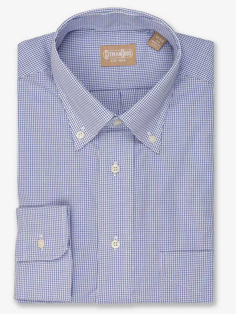 Graph Check Dress Shirt with Button Down Collar