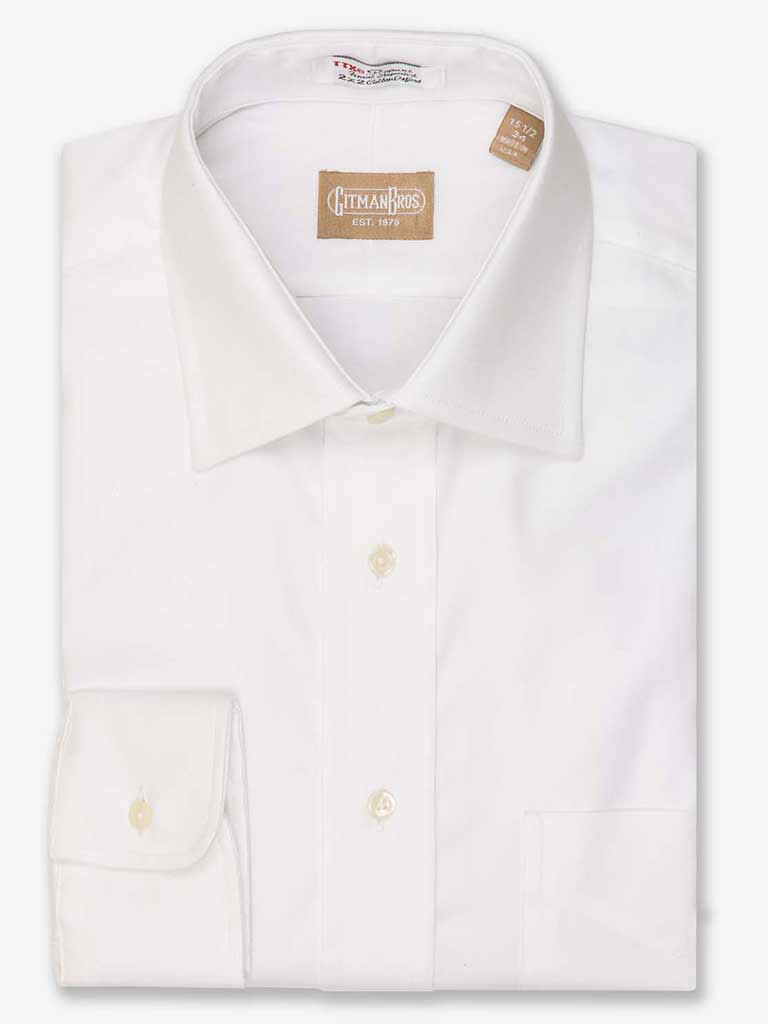 Solid Pinpoint Dress Shirt Medium Spread Collar