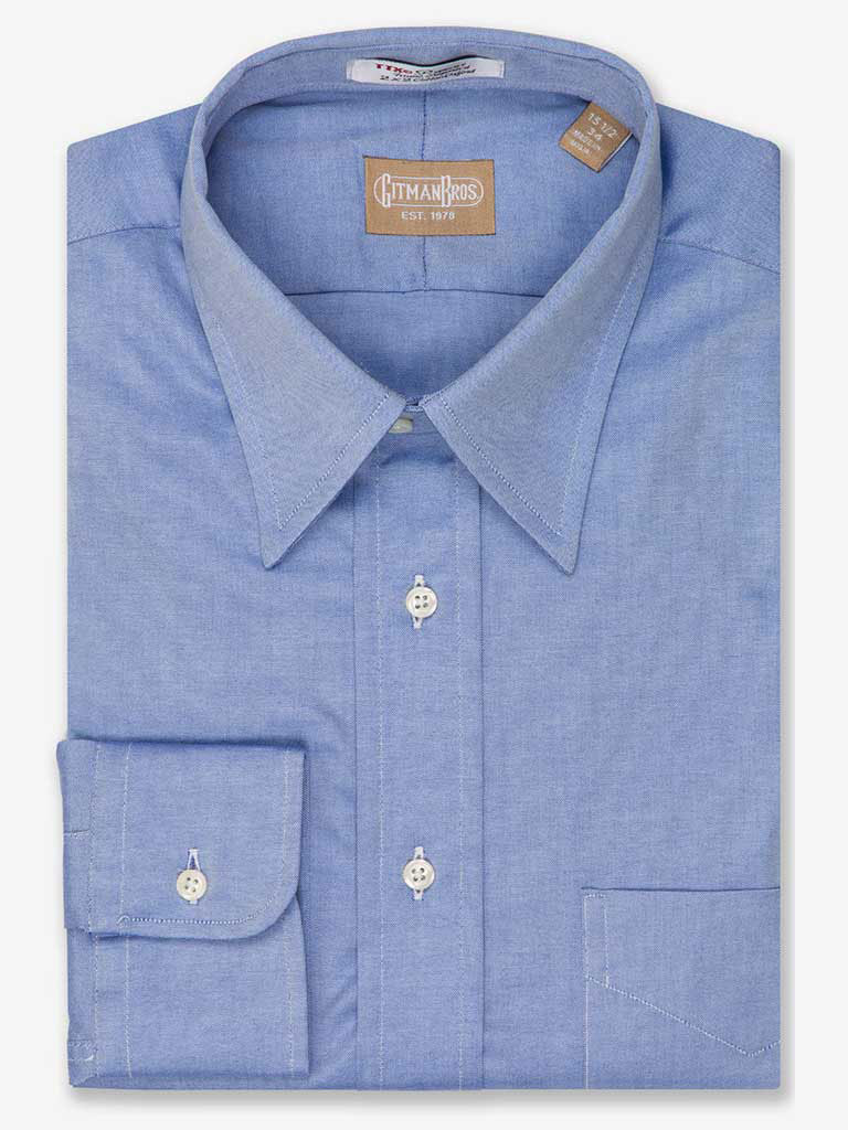 Solid Pinpoint Dress Shirt Point Collar