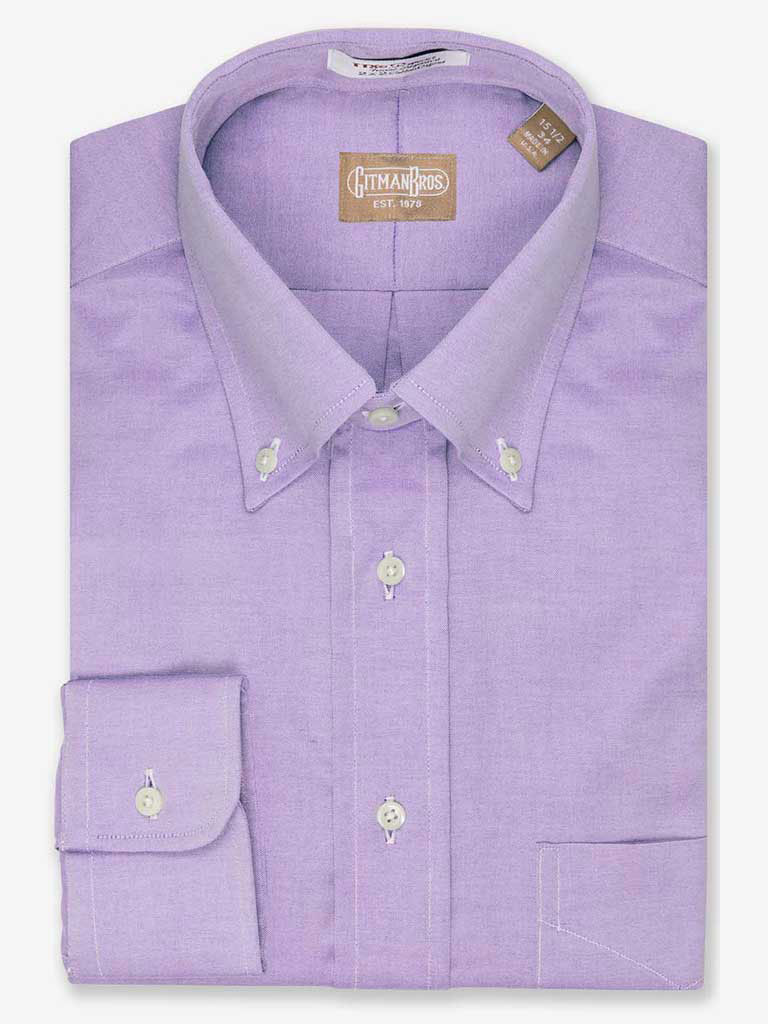 Solid Pinpoint Dress Shirt Button Collar