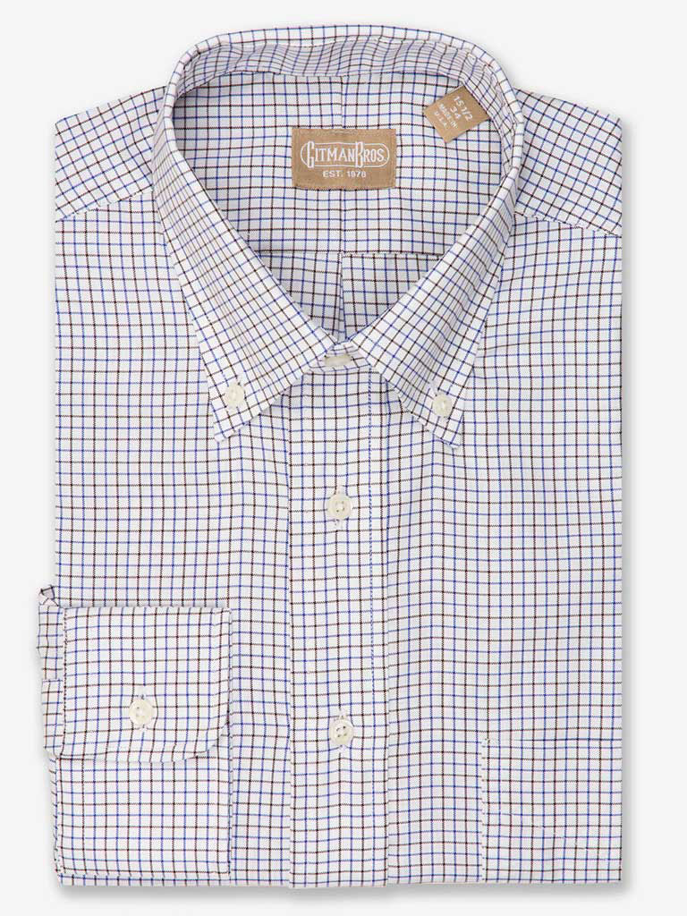 Tattersall Pinpoint Oxford Dress Shirt with Button Down Collar