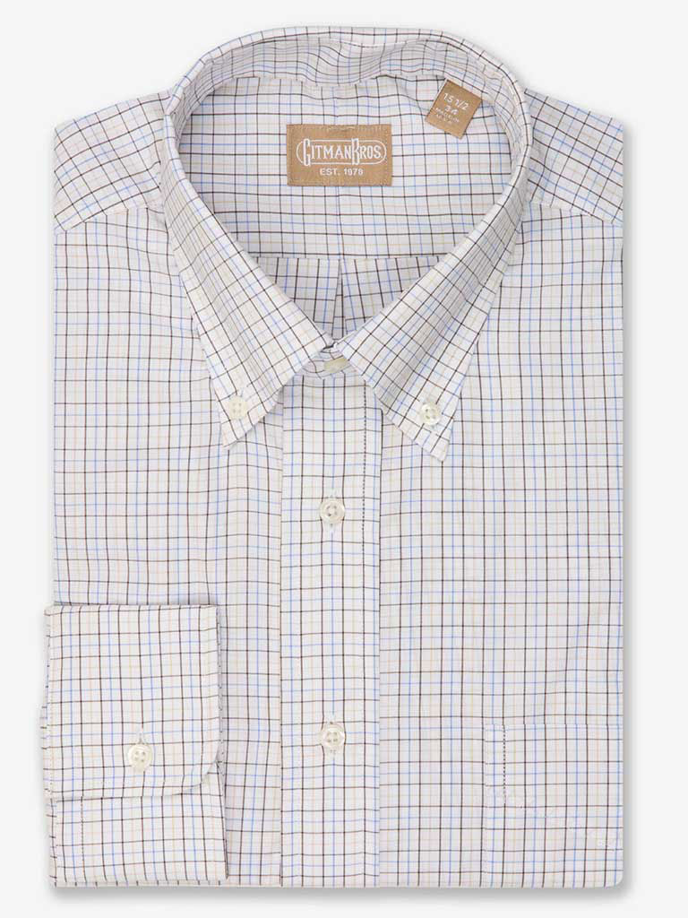 Tattersall Dress Shirt with Button Down Collar